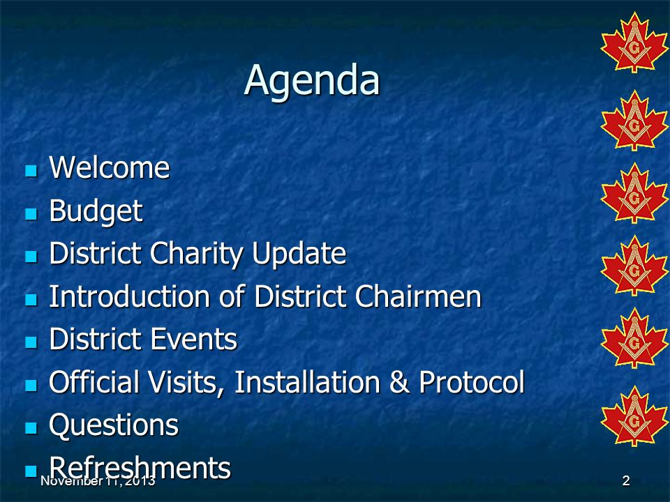 Agenda Welcome Budget District Charity Update