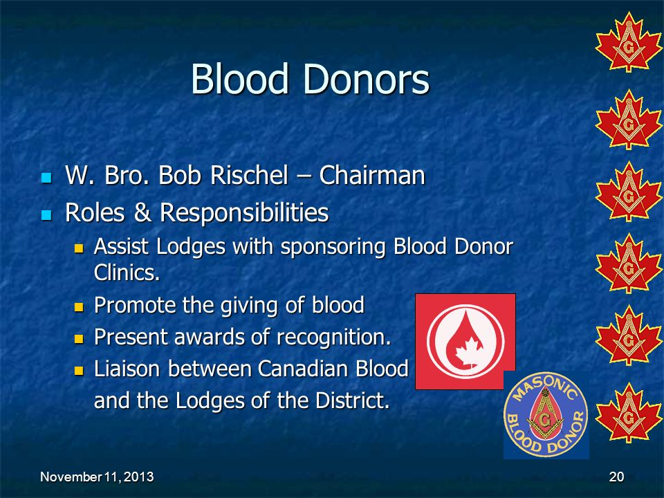 Blood Donors W. Bro. Bob Rischel – Chairman Roles & Responsibilities