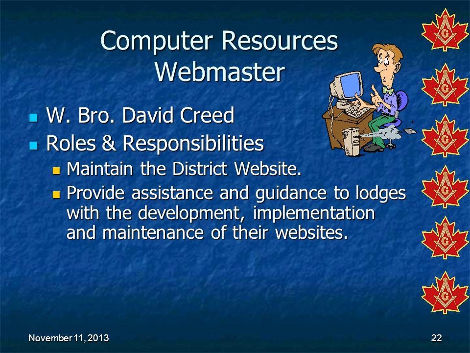 Computer Resources Webmaster