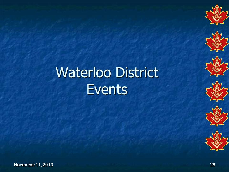 Waterloo District Events