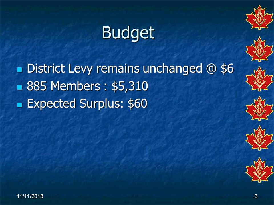 Budget District Levy remains unchanged @ $6 885 Members : $5,310