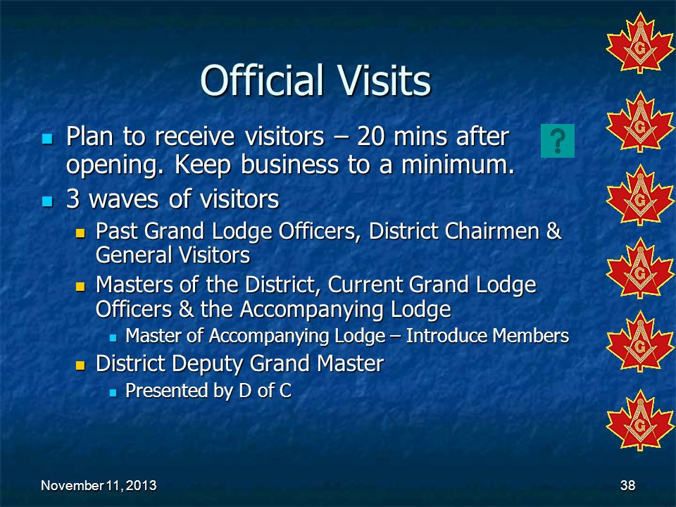 Official Visits Plan to receive visitors – 20 mins after opening. Keep business to a minimum. 3 waves of visitors.