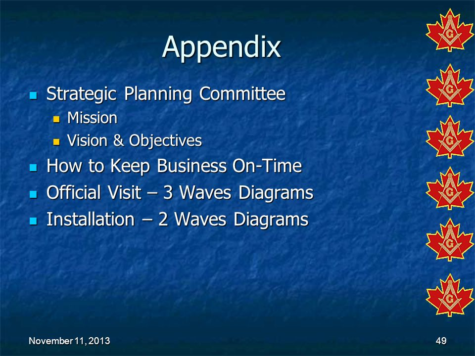 Appendix Strategic Planning Committee How to Keep Business On-Time