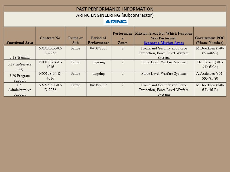 PAST PERFORMANCE INFORMATION