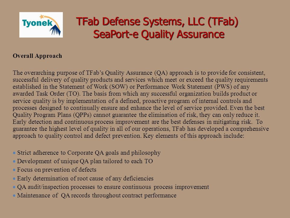 SeaPort-e Quality Assurance