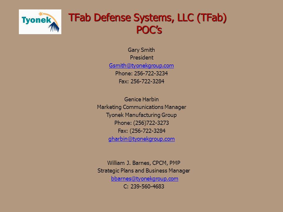 TFab Defense Systems, LLC (TFab) POC's
