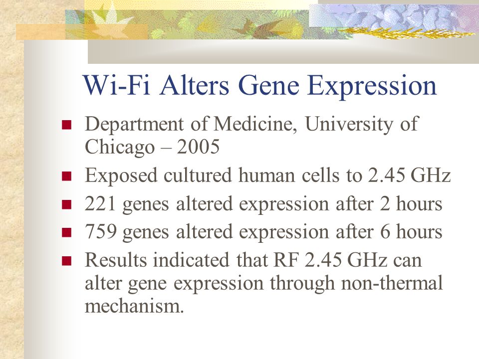 Wi-Fi Alters Gene Expression
