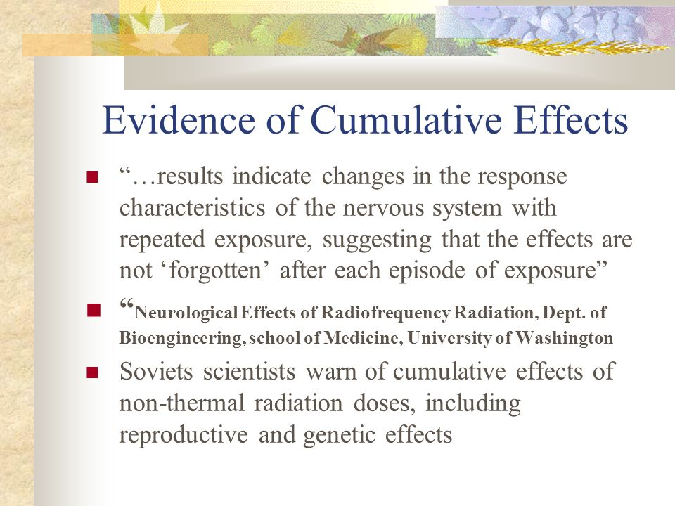Evidence of Cumulative Effects