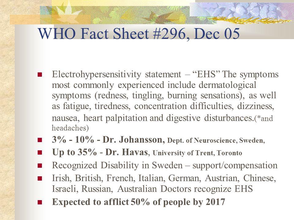 WHO Fact Sheet #296, Dec 05