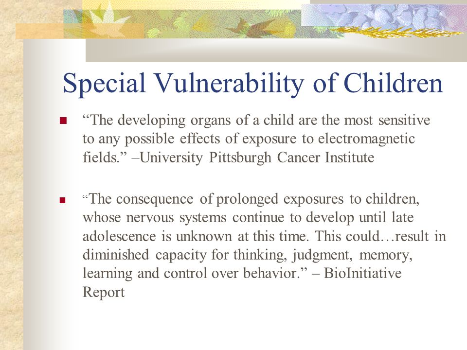 Special Vulnerability of Children