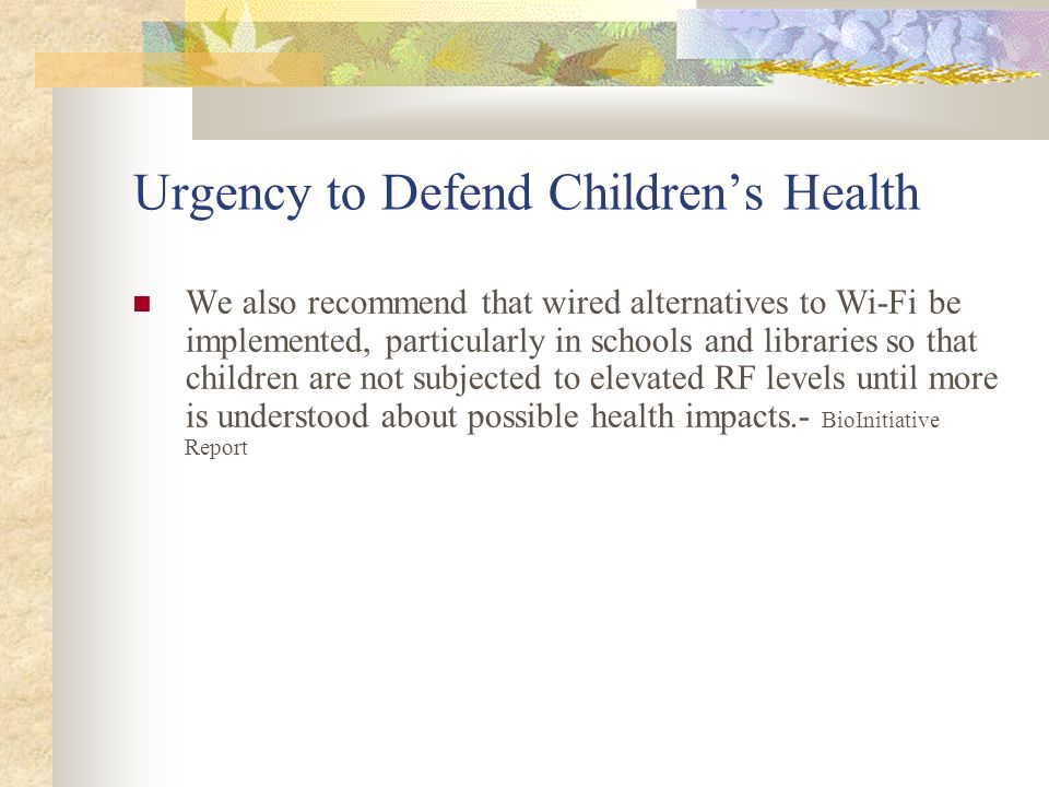 Urgency to Defend Children's Health