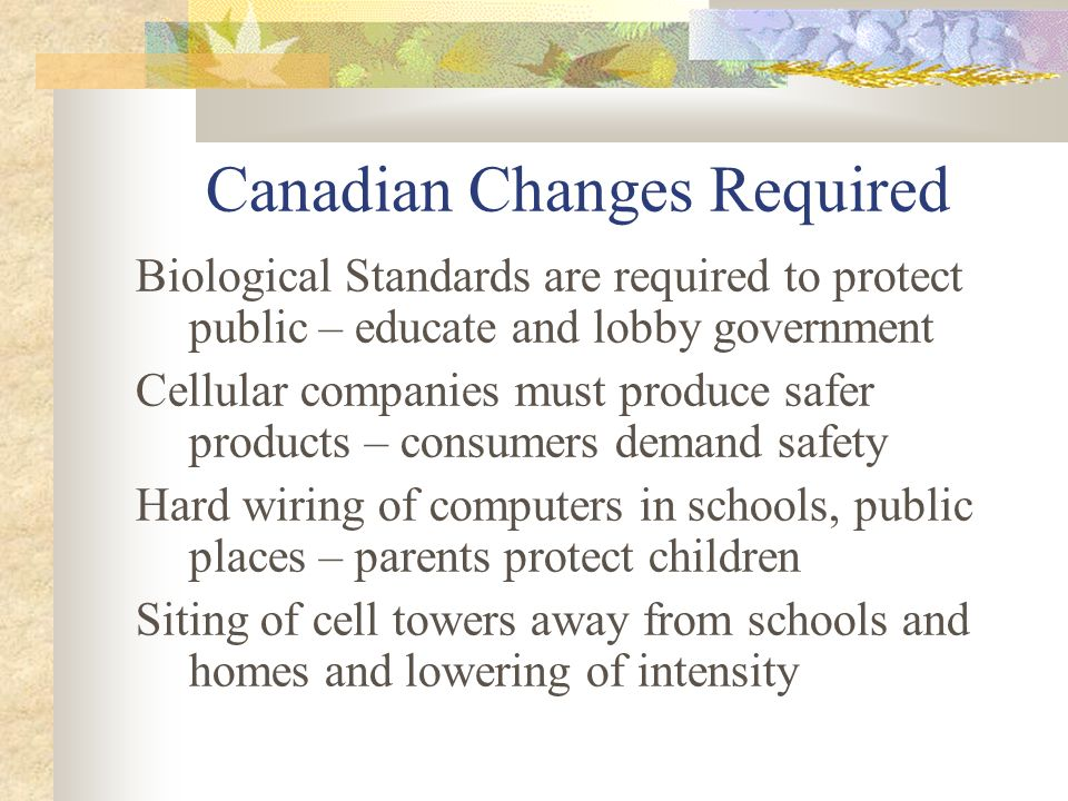 Canadian Changes Required