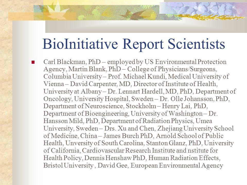 BioInitiative Report Scientists