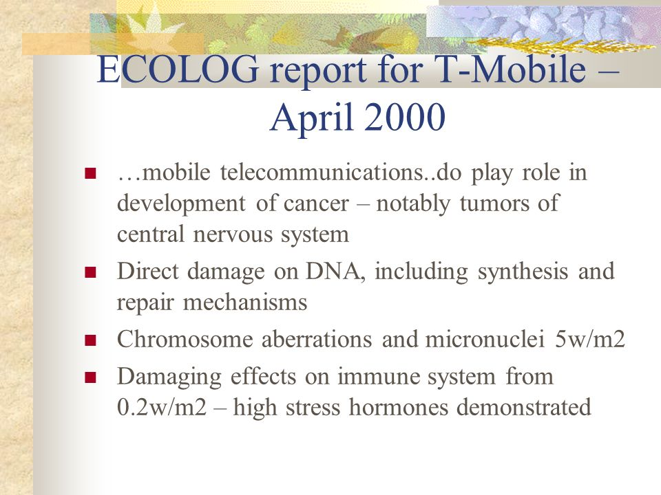 ECOLOG report for T-Mobile – April 2000