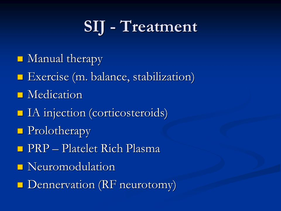 SIJ - Treatment Manual therapy Exercise (m. balance, stabilization)