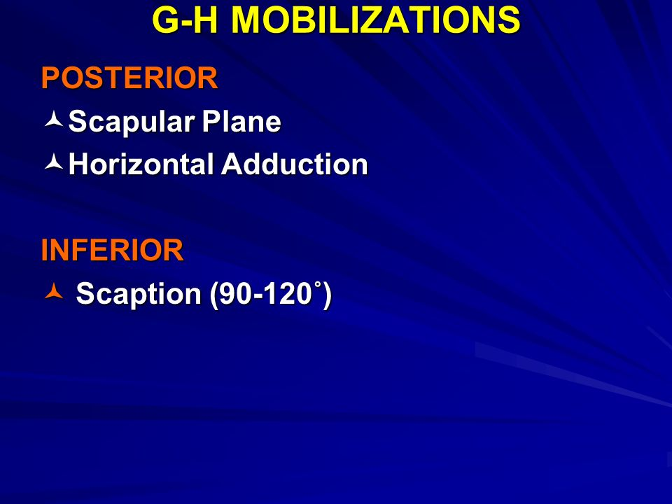 G-H MOBILIZATIONS POSTERIOR Scapular Plane Horizontal Adduction