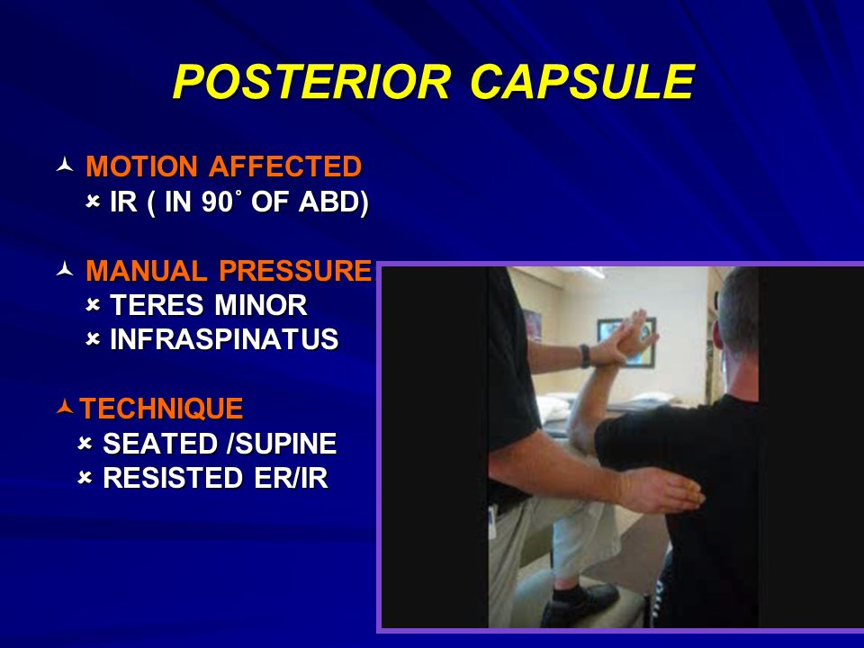 POSTERIOR CAPSULE  MOTION AFFECTED  IR ( IN 90˚ OF ABD)