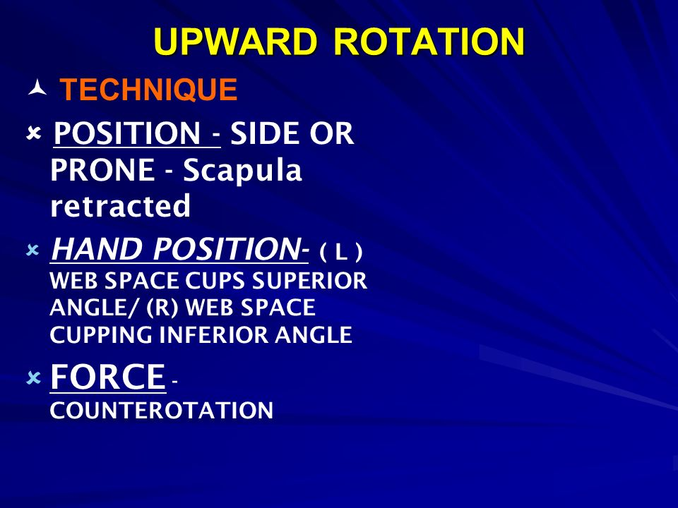 UPWARD ROTATION FORCE - COUNTEROTATION  TECHNIQUE