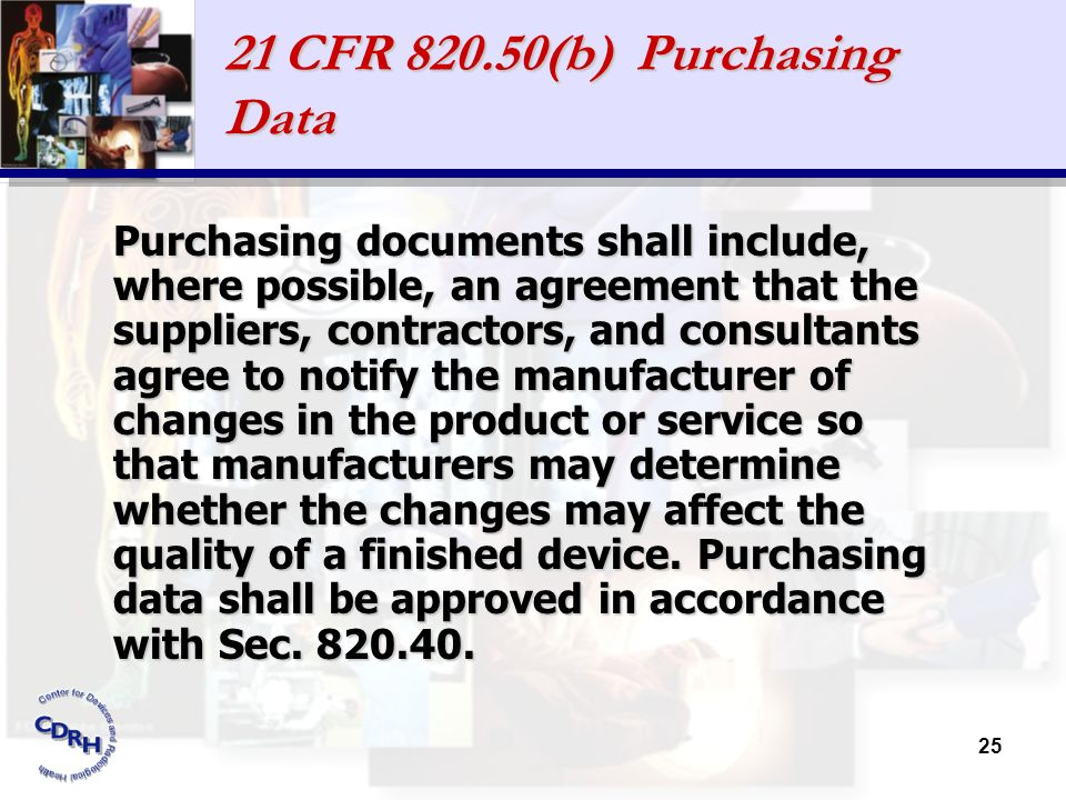 21 CFR 820.50(b) Purchasing Data