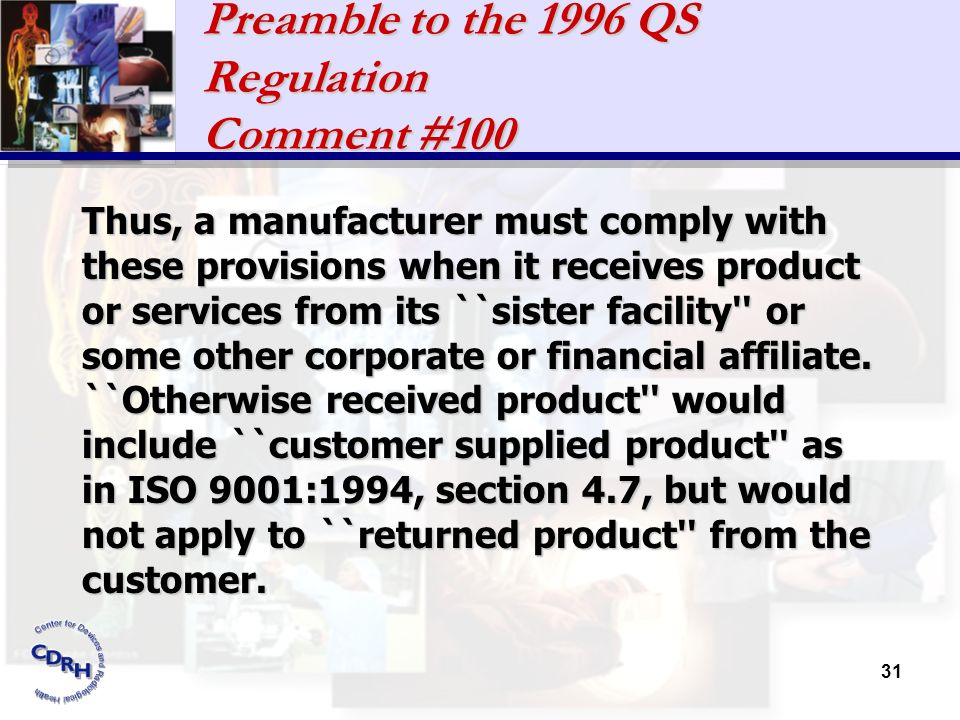 Preamble to the 1996 QS Regulation Comment #100