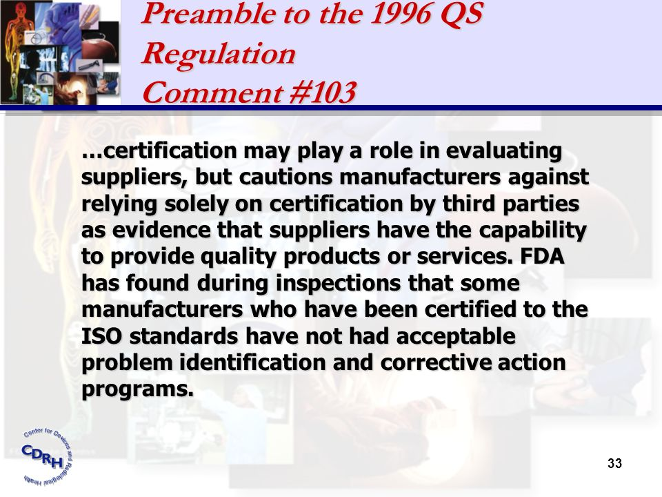 Preamble to the 1996 QS Regulation Comment #103