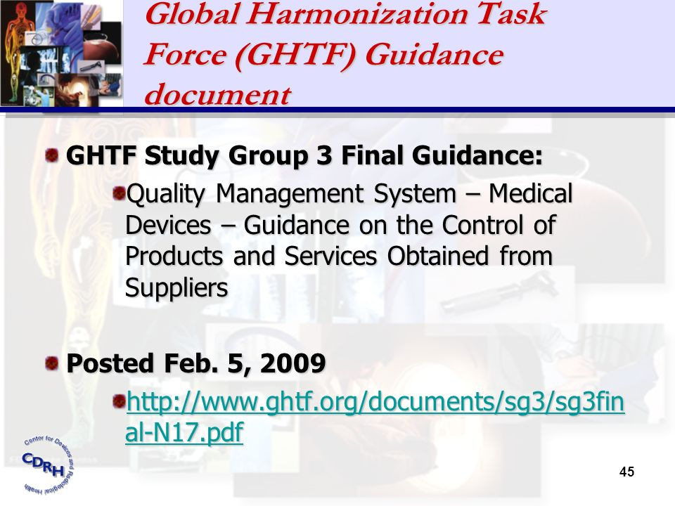 Global Harmonization Task Force (GHTF) Guidance document