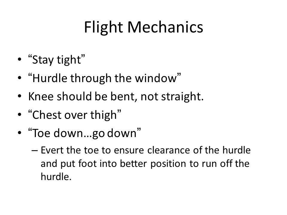 Flight Mechanics Stay tight Hurdle through the window