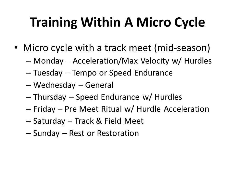 Training Within A Micro Cycle
