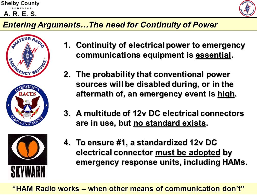 Entering Arguments…The need for Continuity of Power