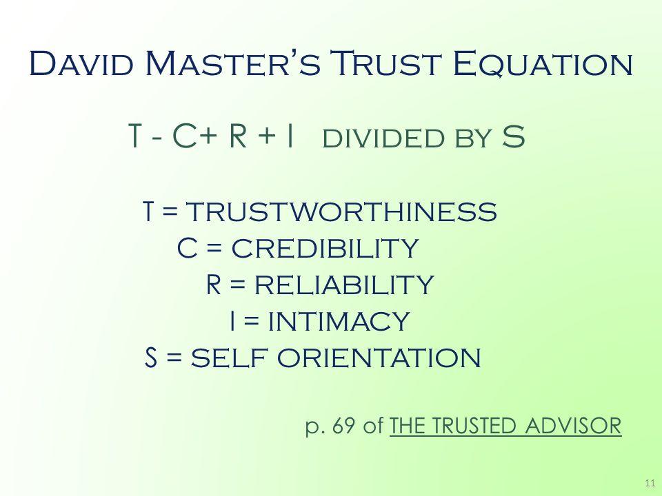 David Master's Trust Equation