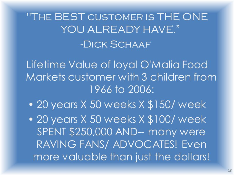 The BEST customer is THE ONE YOU ALREADY HAVE.