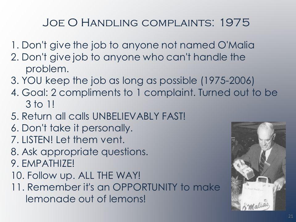 Joe O Handling complaints: 1975 1