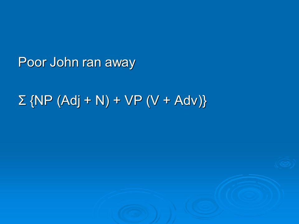 Poor John ran away Σ {NP (Adj + N) + VP (V + Adv)}