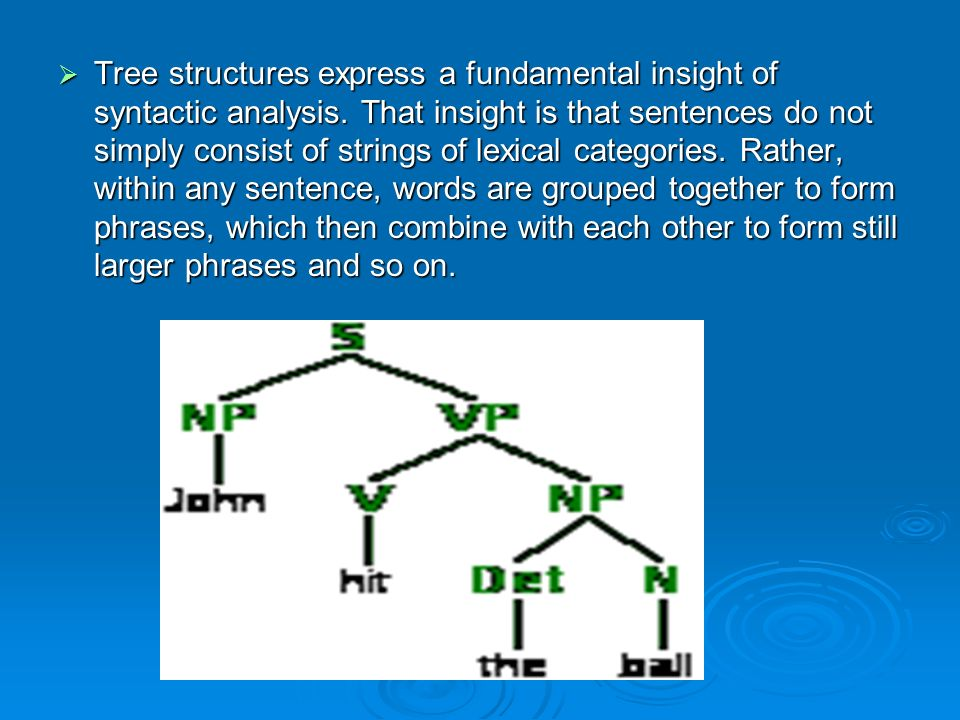 Tree structures express a fundamental insight of syntactic analysis