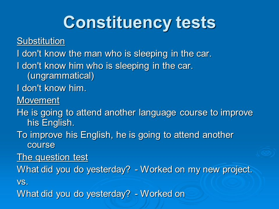 Constituency tests Substitution