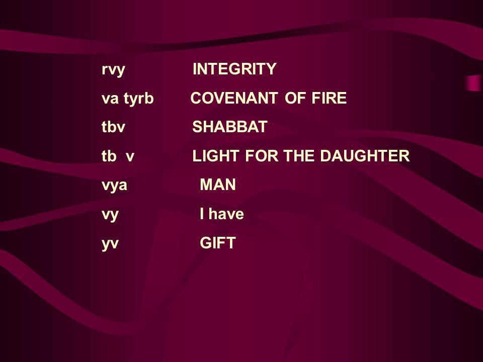rvy INTEGRITY va tyrb COVENANT OF FIRE. tbv SHABBAT. tb v LIGHT FOR THE DAUGHTER.
