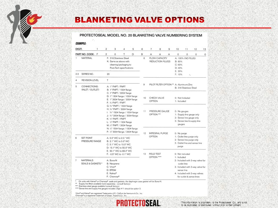 BLANKETING VALVE OPTIONS