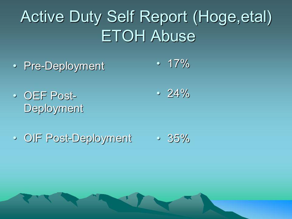 Active Duty Self Report (Hoge,etal) ETOH Abuse