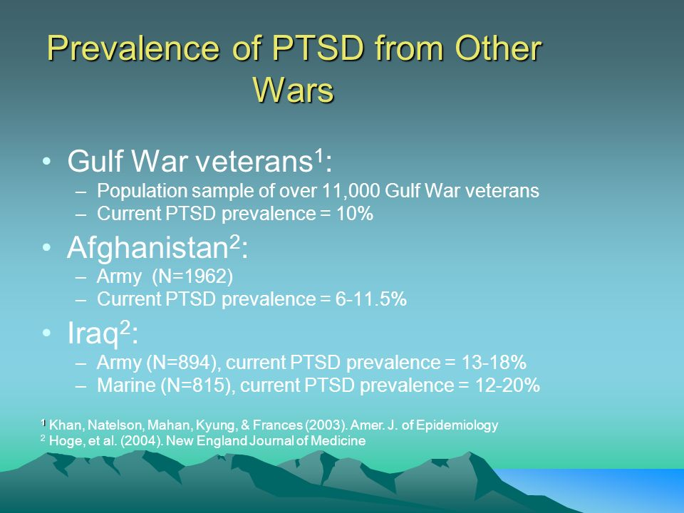 Prevalence of PTSD from Other Wars