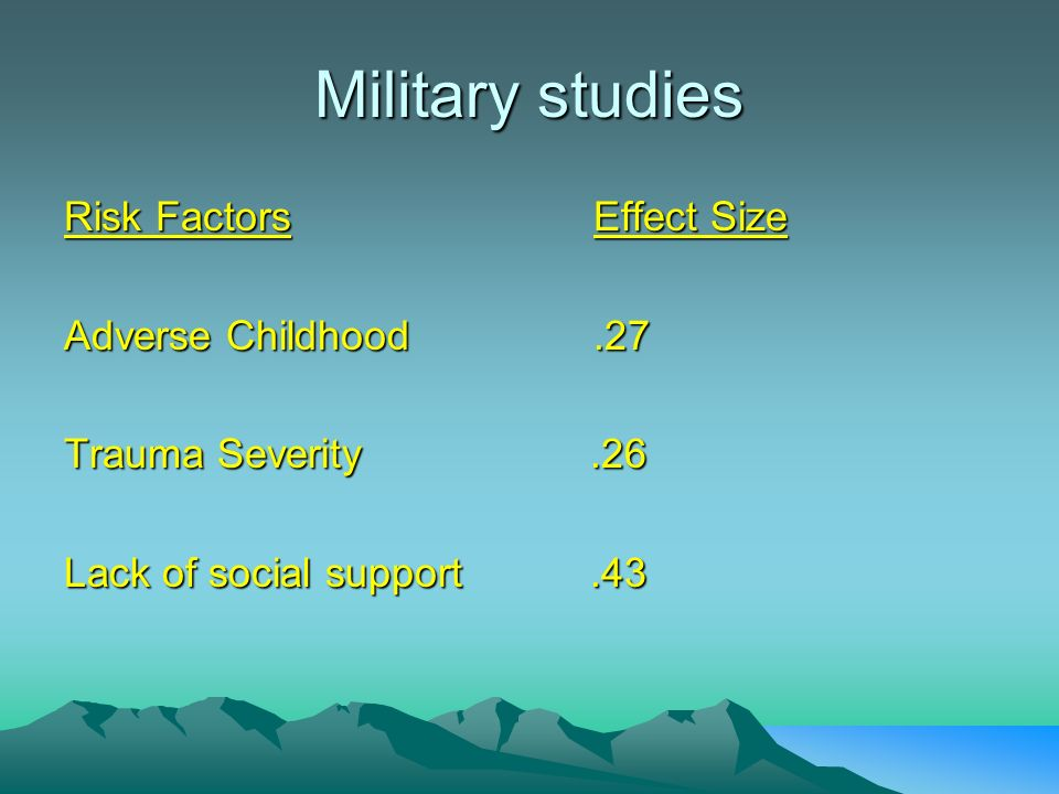 Military studies Risk Factors Effect Size Adverse Childhood .27