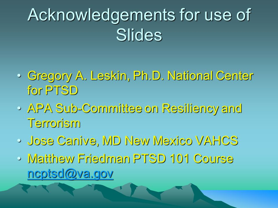 Acknowledgements for use of Slides