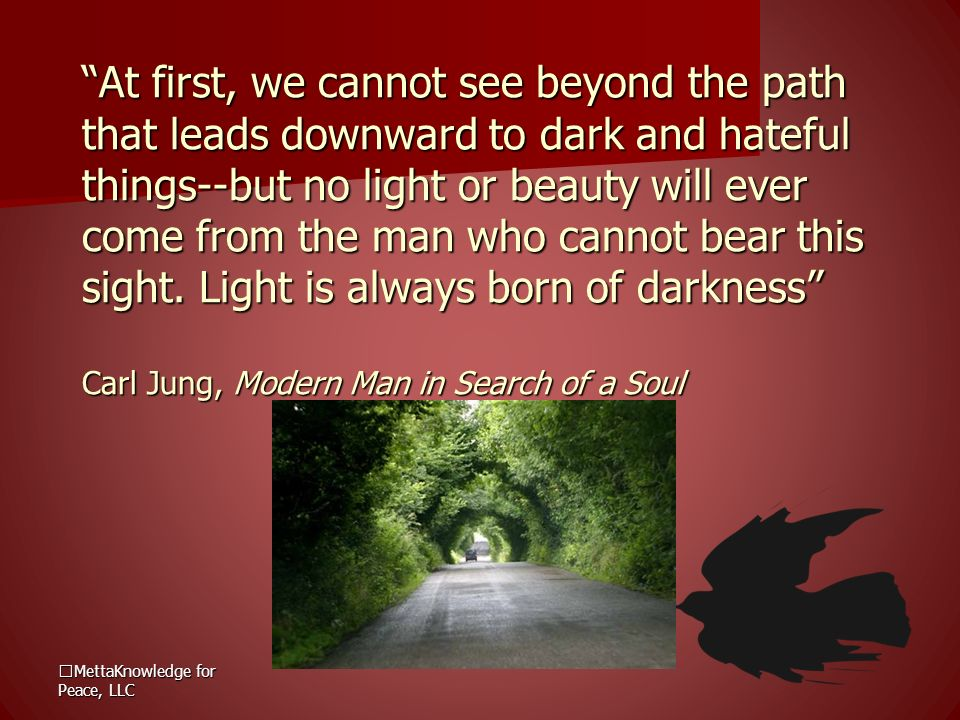 At first, we cannot see beyond the path that leads downward to dark and hateful things--but no light or beauty will ever come from the man who cannot bear this sight. Light is always born of darkness Carl Jung, Modern Man in Search of a Soul
