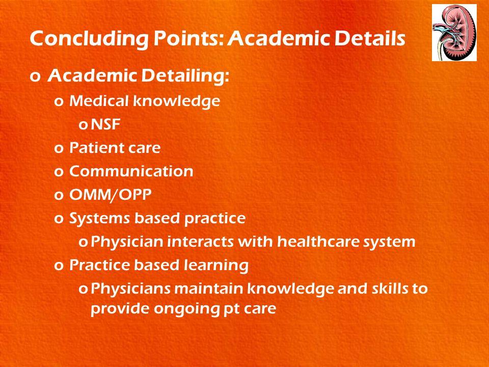 Concluding Points: Academic Details