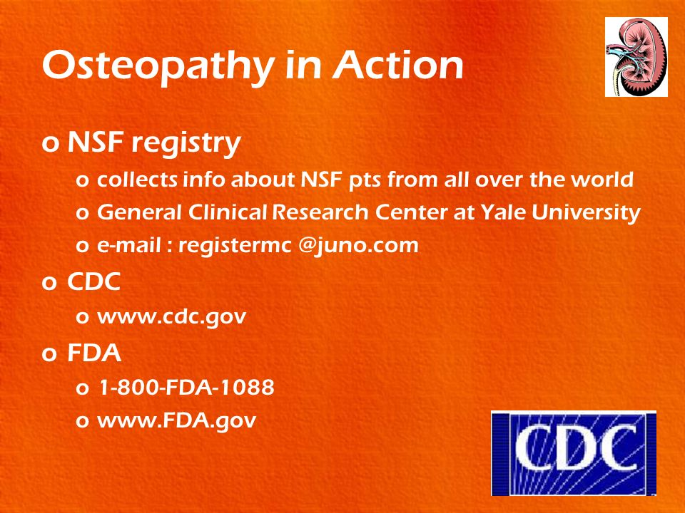 Osteopathy in Action NSF registry CDC FDA