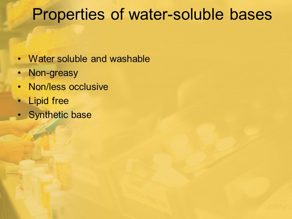 Properties of water-soluble bases