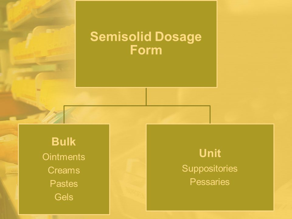 Semisolid Dosage Form Bulk Unit Ointments Suppositories Creams