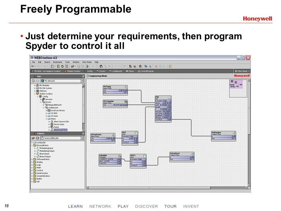 Freely Programmable Just determine your requirements, then program Spyder to control it all