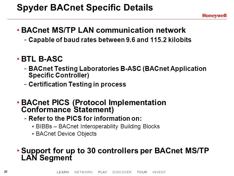 Spyder BACnet Specific Details