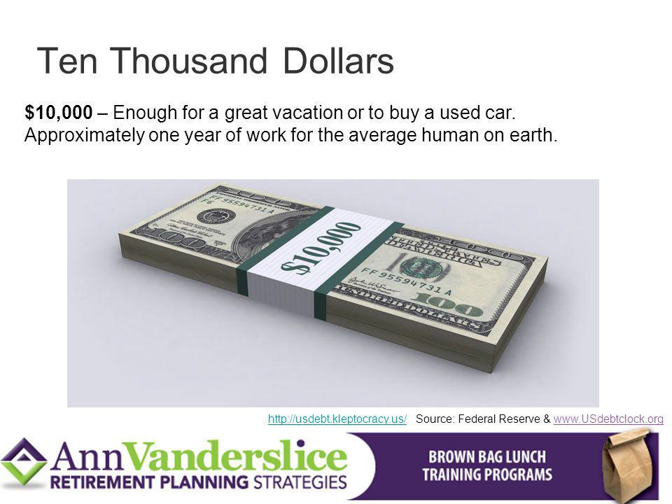 Ten Thousand Dollars $10,000 – Enough for a great vacation or to buy a used car. Approximately one year of work for the average human on earth.