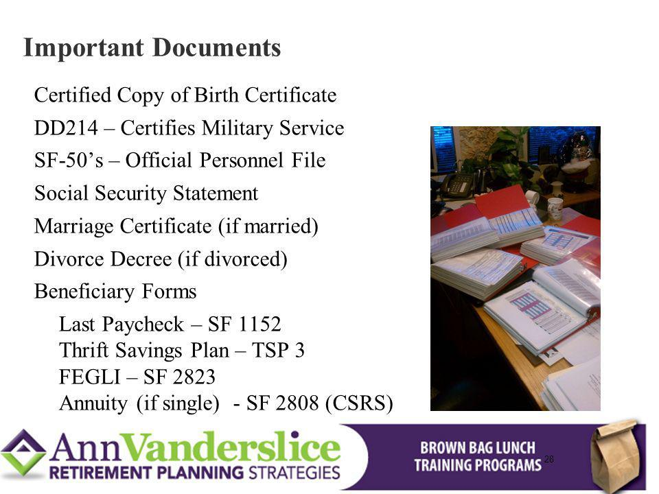 Important Documents Certified Copy of Birth Certificate